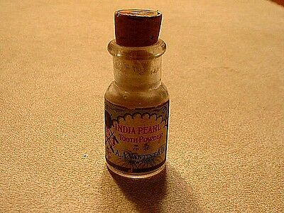 Antique India Pearl Tooth Powder Advertising Bottle With Original Label