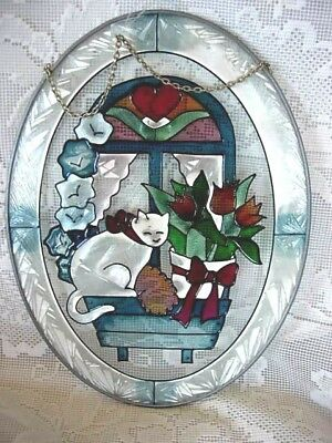 Collectible Faux Stained Glass White Cat/Tulips/Heart Suncatcher/Sun Catcher-NEW