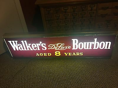 Vintage 8 Year Old Walker's DeLuxe Bourbon Whiskey Lighted Sign