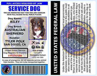Professional Service Dog ID Card - ADA Rated - Comes With Registration - 1A1