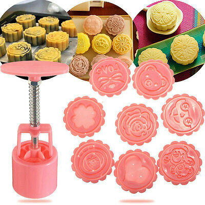 8 Different Stamps 50g Round Moon Cake Mold Mooncake Decoration Mould Pink Sets