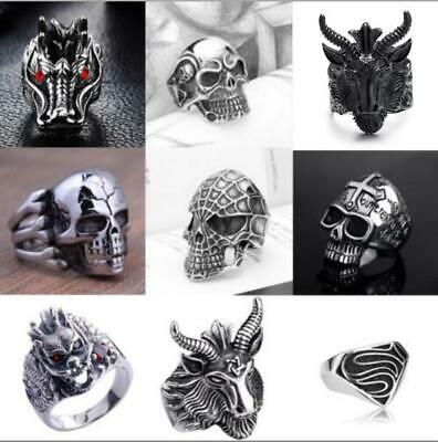 Men's Stainless Steel Fashion Gothic Punk Skull Head Biker Finger Rings Jewelry