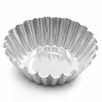 10Pcs Aluminum Foil Egg Mould Baking Cups Tart Muffin Cupcake Cases Silver  BF