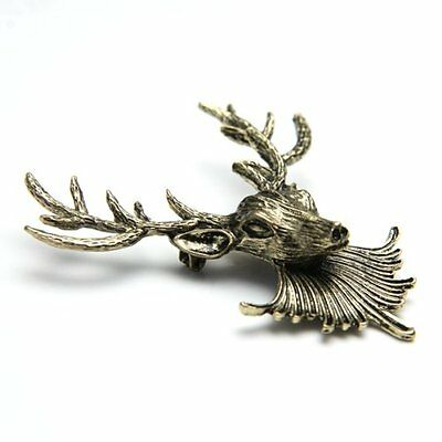 New Retro Punk Style Reindeer Collar Shirt Blouse Clip Tips Brooch BF