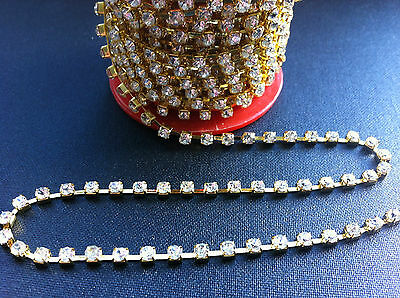 2M Diamante Rhinestone Gold Chain Trimming Jewellery,sew Or Glue On, 3Mm (D0007)