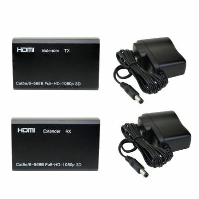 HDMI Balun Extender Over Single Cat Cat6/6A HD 196FT 60M 3D Capable 1080p