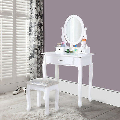 White Dressing Table Vanity Makeup Desk with 5 Drawers, Mirror Set and Stool