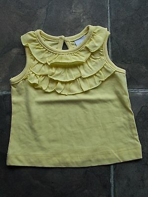 BNWNT Baby Girl's Yellow Frilly Cotton Top Size 000