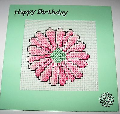 Birthday Card Completed Cross Stitch Gerbera