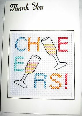 Thank You Card Completed Cross Stitch Cheers