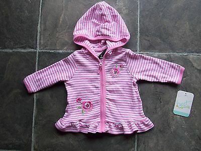 BNWT Baby Girl's Pink & White Stripes Cotton Knit Hoodie/Hooded Jacket Size 000