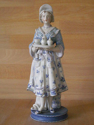 19Th Century Sitzendorf Porcelain Blue And White Figure Of A Chocolate Girl