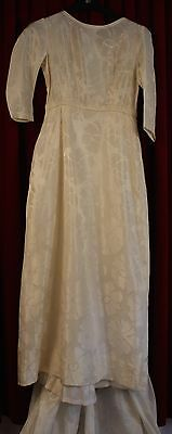 SMALL,1960's BROCADE, WHITE WEDDING DRESS. ORIGINAL VINTAGE. X LONG TRAIN.