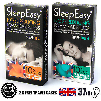 20 Foam Ear Plugs for Sleeping 37dB Snoring/Noise Reduction + Free Case