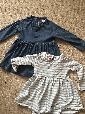 2 Baby Girl Next Jersey Stripe Dresses Tunics 12-18months