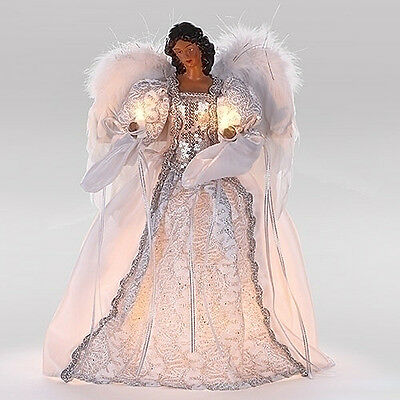 Christmas Tree Toppers - Lighted African American Angel Christmas Tree Topper