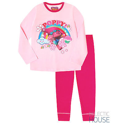 GIRLS TROLLS Poppy Character Pyjamas Pink Cotton Long PJ Set Nightwear