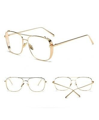 CLASSIC VINTAGE RETRO Style Clear Lens EYE GLASSES square Gold Fashion Frame