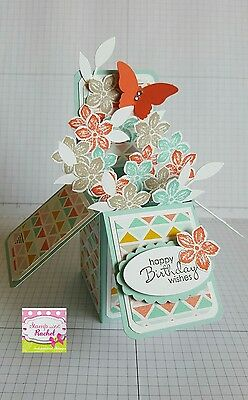 Handmade card, card in a box, Birthday card, teal & coral flowers, stampin up