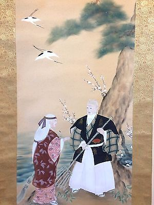Vintage Japanese kakejiku hanging scroll, old couple, cranes, 183cm (L780)