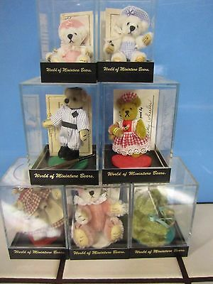 "Brand New Lot Of 7 World Of Miniature Bears ~~ 2-3"" W/ Cases And All Paperwork"