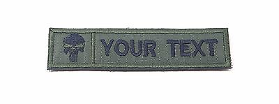 Punisher Skull Custom Name Text Tag Military Army Green Embroidered Patch