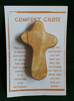 """Christian 70mm (2.5"""") Wooden Comfort Cross from the Holy Land"""