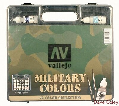 AV Vallejo Model Colour Military Range Box Set 72 paints 3 brushes Colour chart