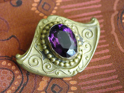Antique Victorian Art Nouveau Brass Pin Brooch Pendant With Violet Setting