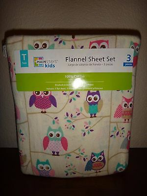 MAINSTAYS Kids~3 Piece Set~Flannel Sheet Twin Set 100% COTTON~Ivory Multi~Owls
