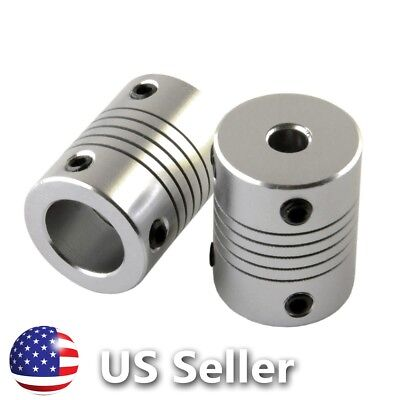 2 x Flexible Shaft Coupler Motor Coupling 5mm to 12mm CNC Router Mill