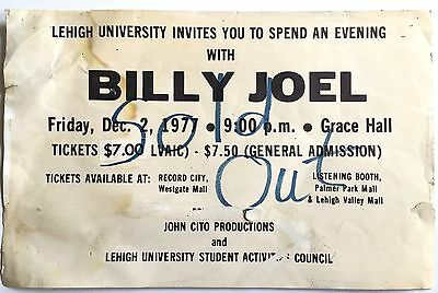 Billy Joel Ultra Rare Original Vintage 1977 Lehigh University Concert Poster!!