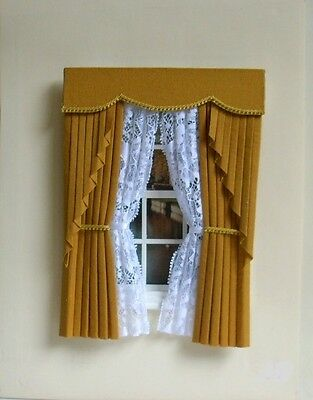 Dollshouse Curtains Gold  Swag With Tied Nets
