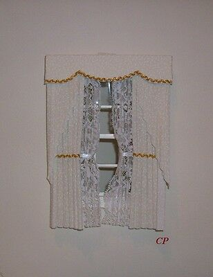 Dollshouse Curtains Cream & Gold Swag With Tied Nets