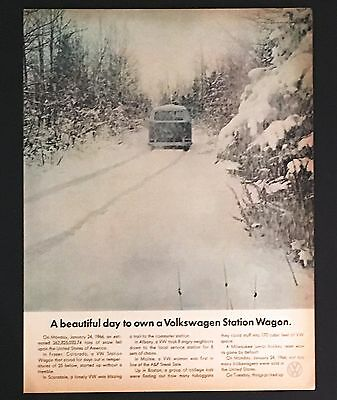 1966 Volkswagen VW Bus Station Wagon Advertisement Photo AD Snow Storm Tracks