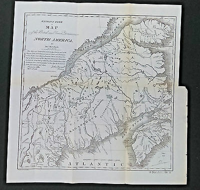 Vintage Map of 1755 British and French Dominians in N America Nova Scotia