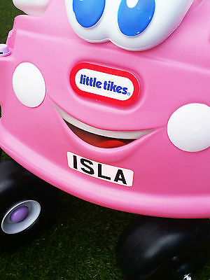FRONT + BACK Personalised Number Plates for Little Tikes Car COZY COUPE
