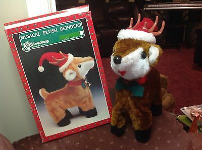 """Vintage """"Christmas Around The World"""" Musical Plush Reindeer~Rudolph~In Box"""