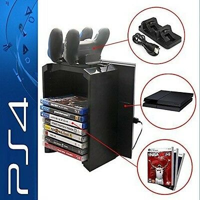 Anrain PS4/PS4 Slim Multifunctional Detachable Holder Game Disk Storage Tower