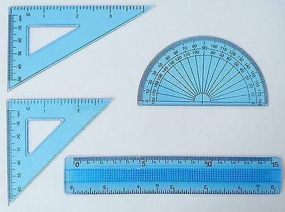 Maths Geometry Stationery Set Protractor Set Squares Ruler Office School Science