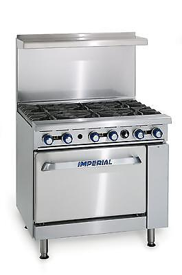"Imperial Range 36"" Restaurant Range with 6 Open Gas Burners & Standard Oven - IR"