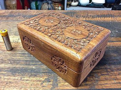 BRT Retro Indian Hand Crafted Carved Teak Wood Decorative Lidded Trinkets Box