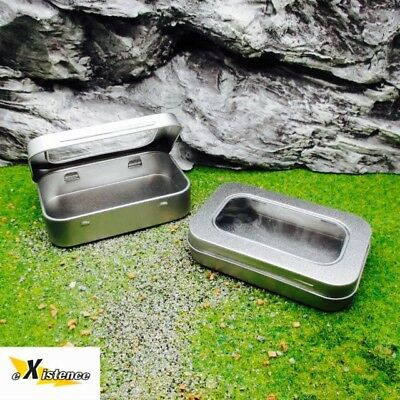 2X SMALL CLEAR LID HINGED METAL STORAGE TINS camping bushcraft survival kit EDC