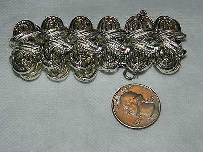 """Pegasus Coro Signed Chunky 1"""" Wide Chain Bracelet Silver Tone W/ Safety chain"""