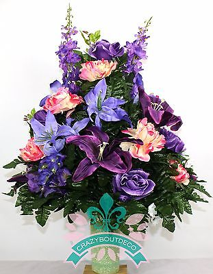 Beautiful Spring Lilies and Peonies Cemetery Flowers for a 3 Inch Vase