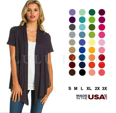 Womens Basic Short Sleeve Cardigan Draped Solid Open Front Top Wrap Shawl USA