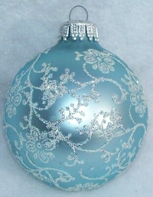 Vtg  W Germany Light Ice Blue Silver Glitter Floral Swirls Christmas Ornament
