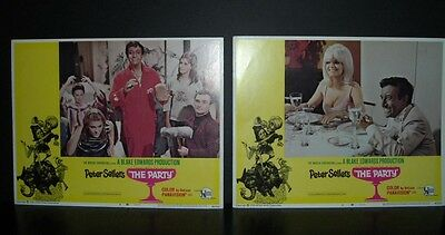 "The Party ""Peter Sellers"" 1968 2 11x14 Original U.S lobby cards in Toploaders"