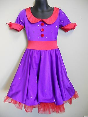 Dance Costume Purple & Red Collard Dress Tap Ballet Solo Competition Pageant