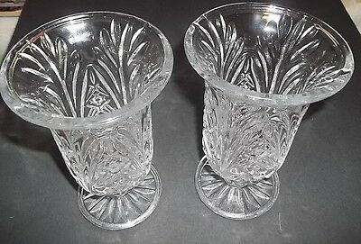 set of 2 Cut Glass Flower Vases 7 inch Tall Top Opening is 4 1/4 wide